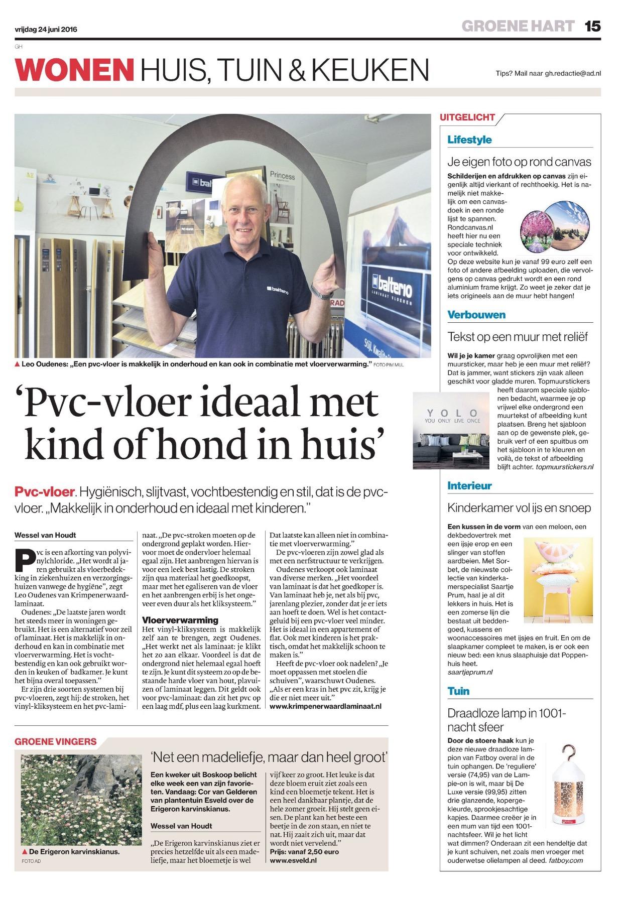 Artikel AD Groene Hart 24-06-2016